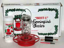Best 1-8 oz Hummingbird Feeder Gift Set with Insect Barrier, Port Brush and Nectar Food