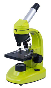 Levenhuk 50L NG Lime Microscope monocular 40-1280x bright color case with experiment kit