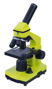Levenhuk 2L NG Lime Microscope monocular three objectives 64-640x bright color
