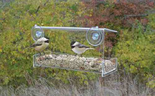 Songbird Essentials Acrylic Clear View Open Diner Window Mounted Tray Bird Feeder. 2 Cup Size. USA