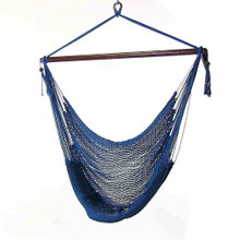 Sunnydaze Hanging Caribbean XL Hammock Chair, Blue, 40 Inch Wide Seat