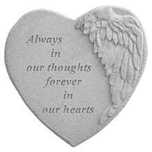 Kay Berry 08905 Winged Heart Memorial Stone - Always In Our Thoughts...