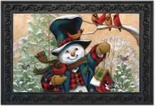 """Winter Friends Snowman Doormat Cardinals Primitive Indoor Outdoor 18"""" x 30"""""""