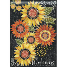"""Sunflower Chalkboard"" Welcome Double-Sided 28""x40"" Fall House Flag"