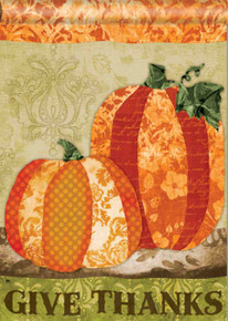 """Pumpkin Tapestry"" Give Thanks Standard House Flag 28"" X 40"" - Thanksgiving"