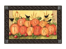 "Give Thanks Scarecrow Autumn MatMates Doormat Fall / Thanksgiving Indoor Outdoor 18""x30"""