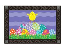 """Chicks Rule Easter Doormat Indoor / Outdoor Bunny MatMates 18"""" x 30"""""""
