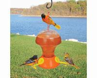 Songbird Essentials Fliteline Oriole 52 oz. - 3 Feeding Stations, Bee/Wasp Guards, Pole Mount or Hang