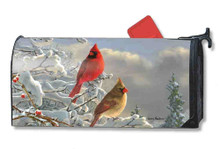 Magnetic Mailwrap Winter Cardinals Large Mailbox Cover
