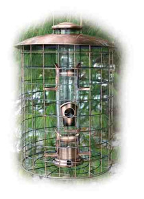 WoodLink COPCAGE6S Coppertop Caged 6-Port Seed Feeder