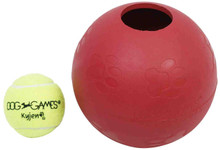 Kyjen 2452 Ball-In-Ball Dog Toy Interactive Puzzle Rubber Tennis Ball Dog Toy, Large, Red