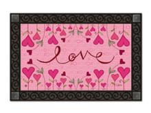 """Hugs and Kisses Doormat Valentine's Day Indoor Outdoor MatMates 18"""" x 30"""""""