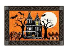 """Haunted House Halloween Doormat Full Moon Spooky Indoor Outdoor 18"""" x 30"""""""