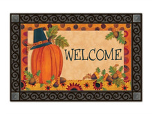 "Pilgrim Pumpkin Thanksgiving Doormat Welcome Primitive Indoor Outdoor 18"" x 30"""