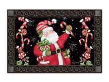 """Candy Cane Santa MatMates Doormat - 18"""" x 30"""""""