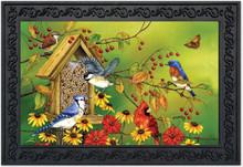 """Fall Friends Birds Doormat Autumn Blue Jay Chickadees Indoor Outdoor 18"""" x 30"""""""