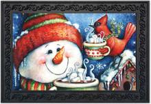 """Warm Wishes Snowman Doormat Christmas Cardinal Indoor Outdoor 18"""" x 30"""""""