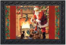 """Santa By The Fireplace Doormat Christmas Presents Indoor Outdoor 18"""" x 30"""""""