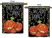 """Trick or Treat"" Jack-o-Lantern, Candy Corn 28""x40"" Halloween House Flag"