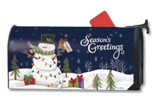 Magnetic Mailwrap Snowman Lights Large Mailbox Cover