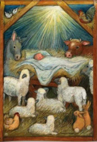 """Christ is Born"" Baby Jesus in Stable Christmas Garden Flag"