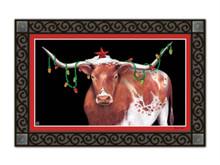 """Cowboy Christmas Doormat Longhorn Steer Holiday Indoor Outdoor 18"""" x 30"""""""