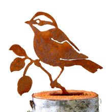Elegant Garden Design Black-Capped Chickadee, Steel Silhouette with Rusty Patina