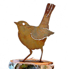 Elegant Garden Design Baby Robin, Steel Silhouette with Rusty Patina