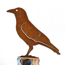 Elegant Garden Design Crow, Steel Silhouette with Rusty Patina