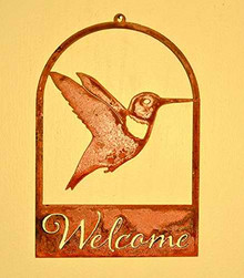 Elegant Garden Design Hummingbird Roundtop Welcome, Rusty Patina
