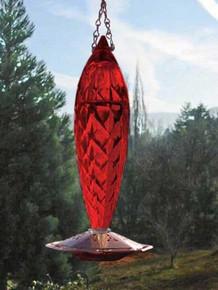 Schrodt Designs Crystal Spiral Red Glass Hummingbird Feeder