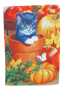 Cat Garden Flag Fall Decoration; Autumn Kitten with Pumpkins, Leaves, and Apples; 12 inches by 18 inches