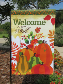 "Double Sided Fall Garden Flag; Autumn Harvest Pumpkins; ""Welcome Fall"" message readable both sides; 12 inches by 18 inches"