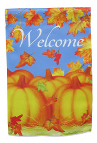"Double Sided Fall Garden Flag; Autumn Pumpkins with Maple Leaves; ""Welcome"" message readable both sides; 12 inches by 18 inches"