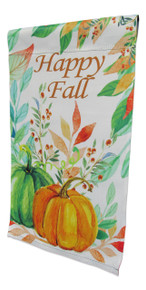 "Double Sided Autumn Garden Flag; Watercolor Pumpkins; ""Happy Fall"" message readable both sides; 12 inches by 18 inches"