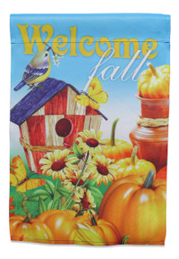 "Autumn Garden Flag; ""Welcome Fall"" message readable both sides; Bird with bird house, pumpkins, and sunflowers; 12 inches by 18 inches"