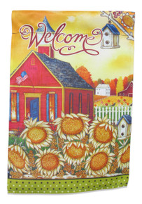 "Double Sided Americana Garden Flag; ""Welcome"" message readable both sides; Schoolhouse with American Flag; 12 inches by 18 inches"