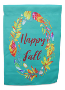 "Double Sided Autumn Garden Flag; ""Happy Fall"" message in wreath with leaves and feathers; readable both sides; 12 inches by 18 inches"