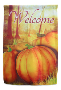 Fall House Flag with Pumpkins; true double sided Welcome message readable both sides; 28 inches by 40 inches