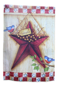 Primitive Americana Decor Double Sided Barn Star House Flag; Patriotic Colors; 28 inches by 40 inches
