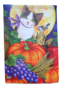 Fall Cat House Flag; Kitten with Pumpkins, Full Moon, and Grapes; 28 inches by 40 inches