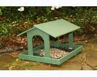 Songbird Essentials 18 x 15 Recycled Plastic Fly Through Platform Bird Feeder. Easy Clean with Roof