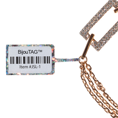 rattail jewelry tag printed with a barcode. Great for inventory control #JSL-1