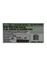 "Empire 22 Gauge 1/2"" Fine Wire Staples - Liquor Finish"