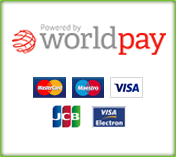 We accept most major credit cards via Worldpay