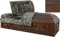W7874 FS 7874 - Camouflage Casket - Solid Wood Rustic Oak, Hunter's Casket, MOSSY OAK Barnyard Look