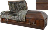 W7874 FS   Camouflage Casket - Solid Wood Rustic Oak, Hunter's Casket, MOSSY OAK Barnyard Look