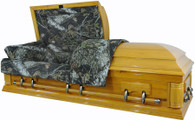 W8738 FS   Camouflage Casket - Solid Wood  Pine- Hunter's Casket  High Gloss         Click the photos below to enlarge.  8738