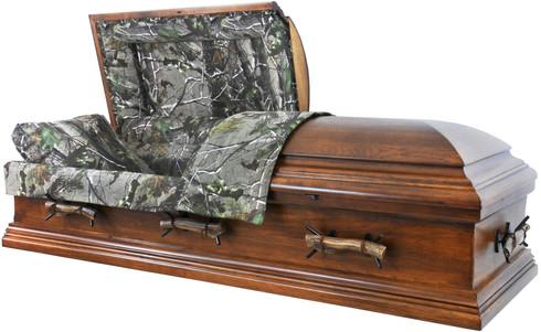 W7872 FS  - Camouflage Casket - Solid Wood  Rustic Hickory - Hunter's Casket, MOSSY OAK  Elk Antlers         Click the photos below to enlarge.  7872