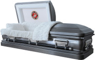 M3516 FS   - Marine Corps Casket (18ga) protective, round corner              Casket Features     •3516 18 gauge Steel  •Marine Corps Casket •White Velvet Interior in a French Fold Design  •Half Couch Full Rubber Gasket Seal •Eternal Rest Adjustable Bed •Matching Pillow and Throw  •Memory and Record Tube  •Rounded Casket Corners  •Locking Mechanism  •Continuous Weld Construction Which Completely Seals the Bottom •Swing Bar Handled Hardware •Silver Jewel-tone Accessories •18 gauge steel is about 30% THICKER than 20 gauge steel •Fits In standard 30 inch Burial Vaults